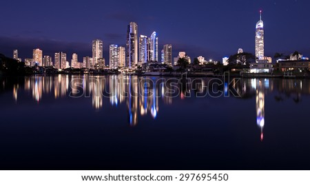 Twilight View of the Famous Gold Coast City Along the Canal, Surfers Paradise, Queensland, Australia - stock photo