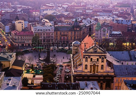 Twilight view of western european city Lviv, architecture background - stock photo