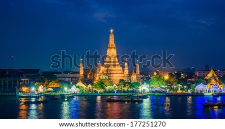 Twilight view Pra Prang of Wat Arun Temple, Famous Thai temple across Chao Phraya River during sunset, Bangkok, Thailand - stock photo