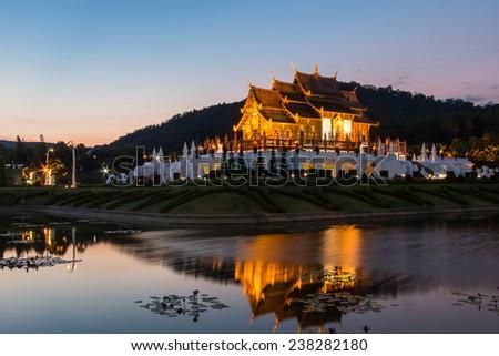 Twilight wat Ho kham luang temple northern thailand - stock photo