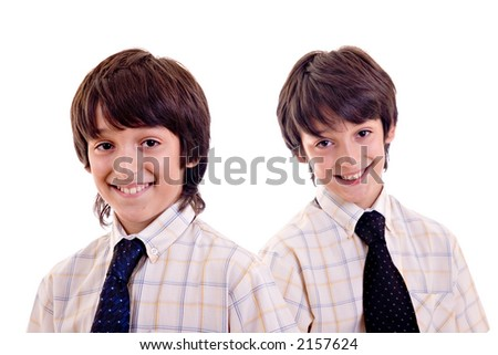 Twin brothers with shirt and tie, smiling. Isolated over white background.