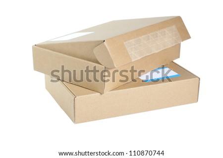 Twin cardboard box isolated. - stock photo