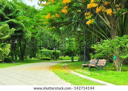 twin chair in the beautiful park. - stock photo