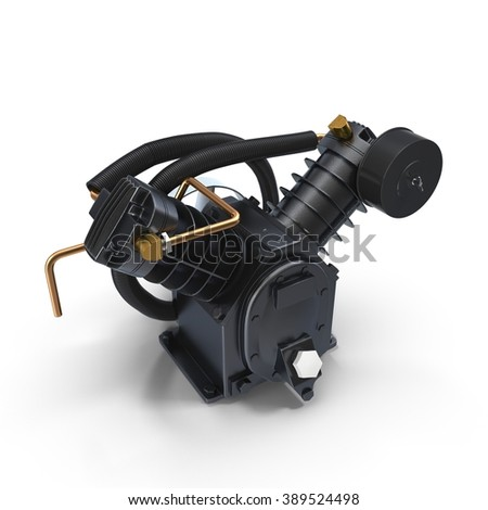 Twin Cylinder Air Compressor Pump on white