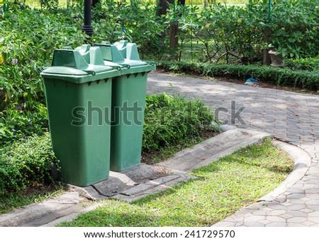 Twin green bin in the city park. - stock photo