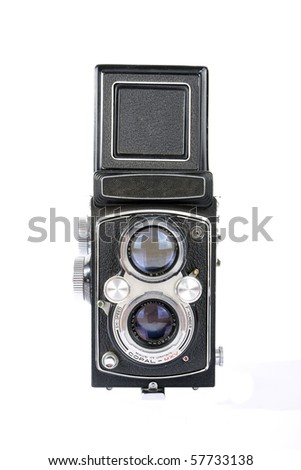 Twin lens reflex old photo camera isolated on white - stock photo