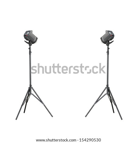 Twin low studio flash isolated on white background