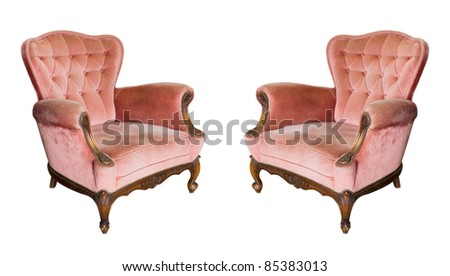 Twin Luxury vintage arms chair isolated on White Background