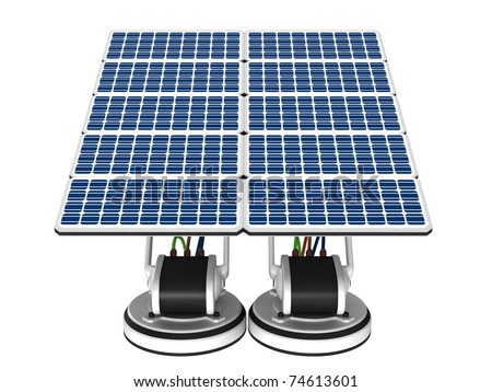 Twin panel solar energy on a white background.