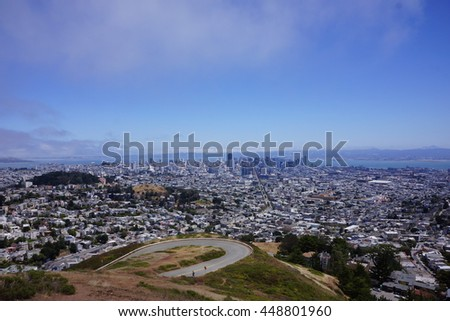Twin Peaks overlooking San Francisco bay and downtown.