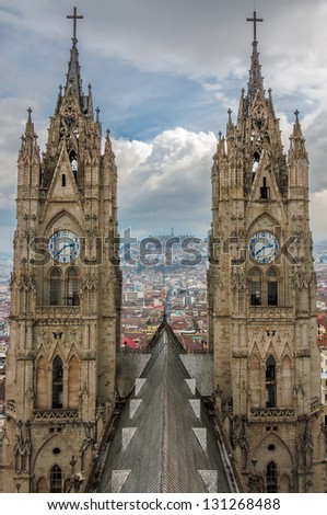 Twin spires of the basilica in Quito, Ecuador - stock photo
