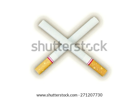 Twin Tobacco Meaning To Stop Smoking and Drop Noise Shadow for World No Tobacco Day  - Die Cut For Art Work on White Background - stock photo