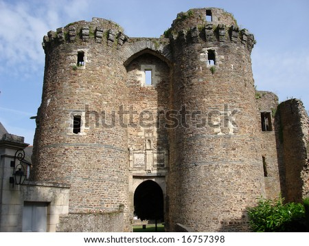 Twin tower entrance to Chateaubriant castle, Brittany, France - stock photo