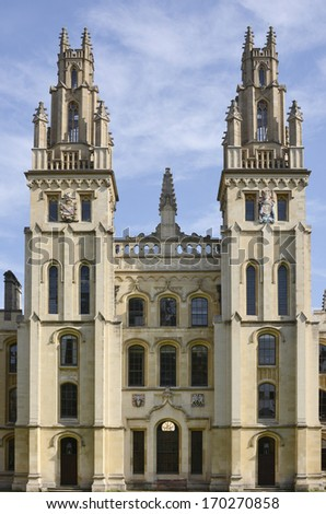 Twin towers of All Souls College in Oxford. England