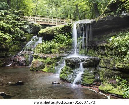 Twin Waterfall, Diamond Notch - shot with D810, f11, ISO 64, .4 sec - stock photo