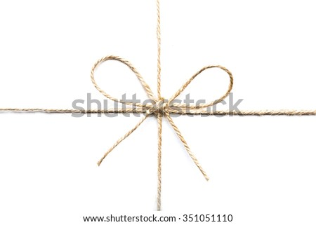 twine tied in a bow isolated on white background