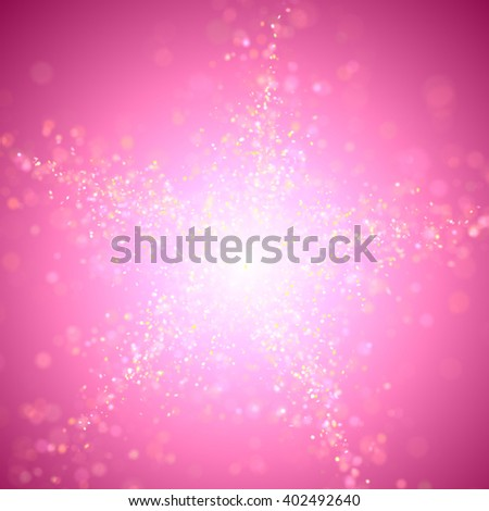 twinkling glitter in shades of pink, white and yellow with bokeh effect forming a star in front of a background in vibrant shades of purple and pink with a bright highlight (3D illustration) - stock photo
