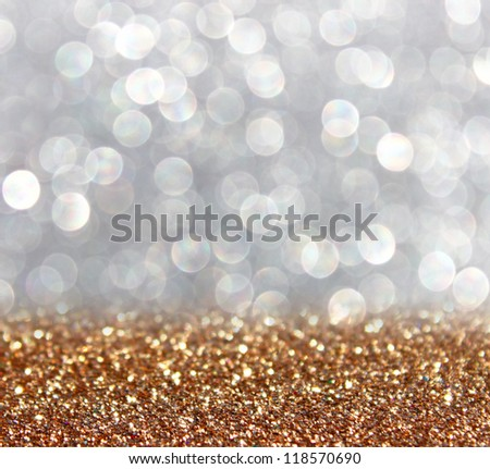 Twinkly golden Lights and Stars Christmas Background - stock photo