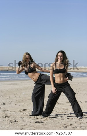 twins training in the beach