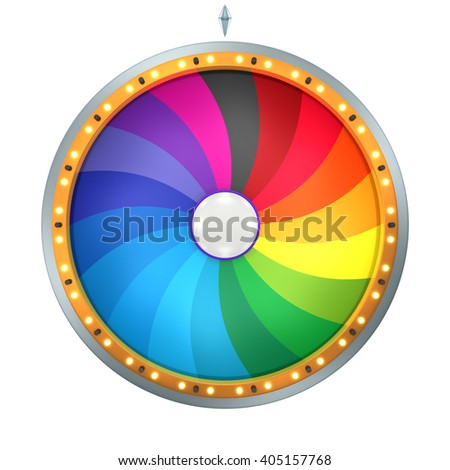 Twirl graphic with Wheel of fortune create by 3D illustration. This colorful graphic is isolated on white background - stock photo