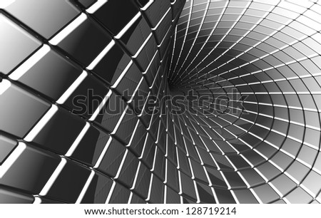 Twisted abstract square pattern silver background