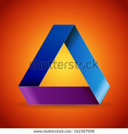 Twisted blue and purple paper triangle on orange background