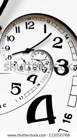 Twisted clock face with arrows. Time-management concept - stock photo