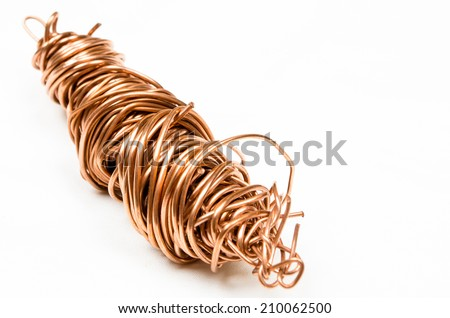 Twisted copper scrap isolated on white background - stock photo