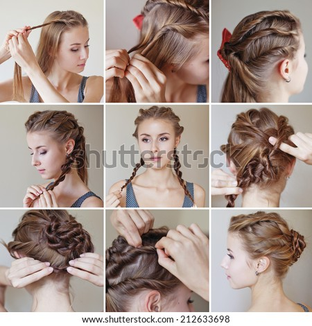 twisted hairdo tutorial by beauty blogger - stock photo