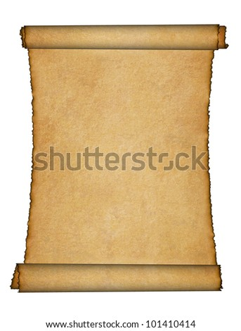 Twisted parchment. Detailed old page papers. It is isolated on a white background
