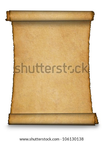 Twisted parchment with shadow. Detailed old page papers. It is isolated on a white background