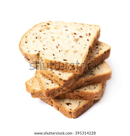 Twisted pile of multiple white bread's slices isolated over the white background