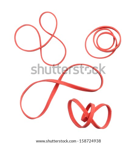 Twisted red elastic rubber bands isolated on white background - stock photo