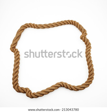 Twisted rope frame isolated on white.