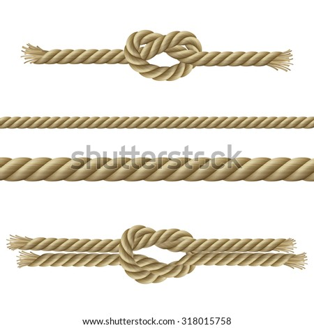 Twisted ropes nodes and sailor knots decorative set isolated  illustration
