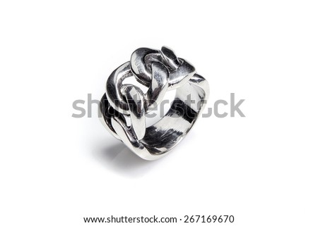 Twisted silver male ring on white background