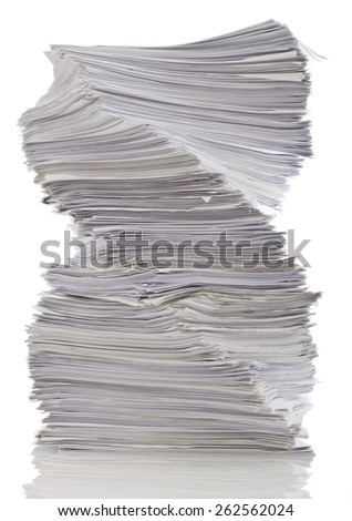 Twisted stack of papers - stock photo