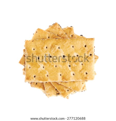 Twisted stack of raisins cracker cookies isolated over the white background - stock photo