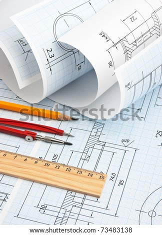 twisted technical drawing and tools - stock photo