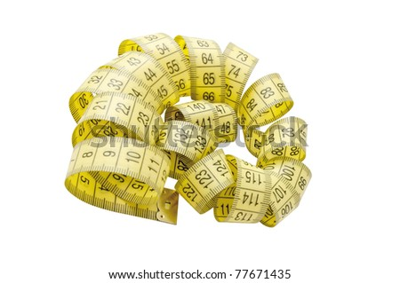 Twisted yellow tape measure isolated