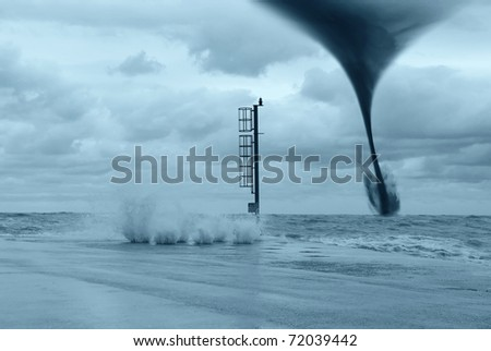 twister at horizon on the ocean - stock photo