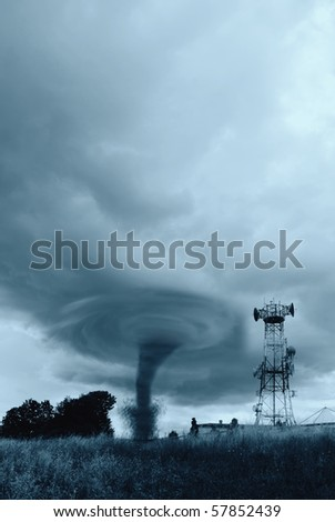 twister hits the radio station - stock photo