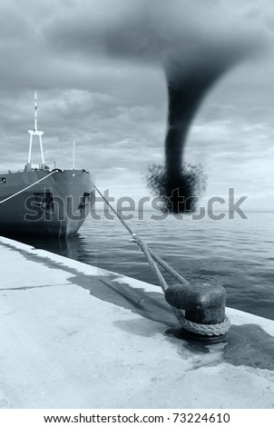 twister in the port - stock photo