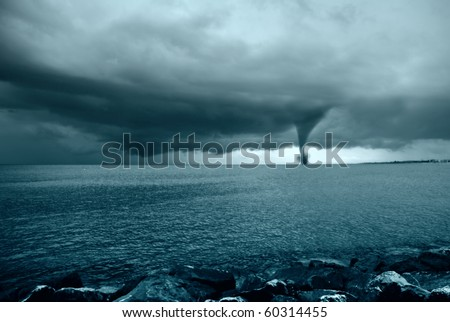twister incoming from the ocean