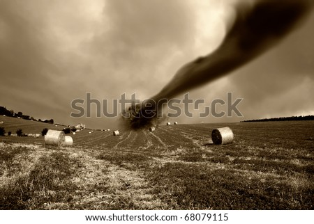 twister on the hill - stock photo