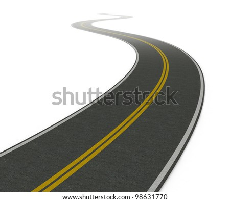 Twisty asphalt road. white background (3d render)