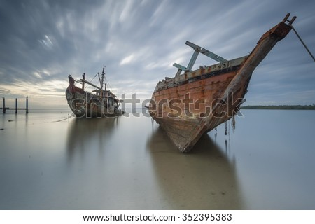 Two abandoned ship in Borneo Sabah, Malaysia