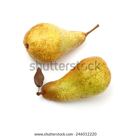 Two Abate Fetel pear with leaf, top view, isolated - stock photo