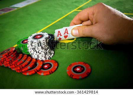 Two aces on hand - stock photo