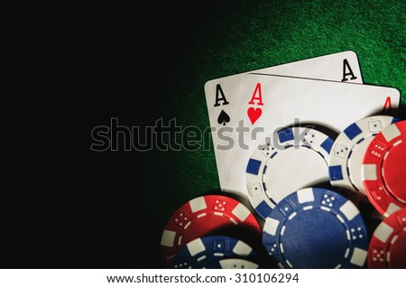 two aces on poker table - stock photo